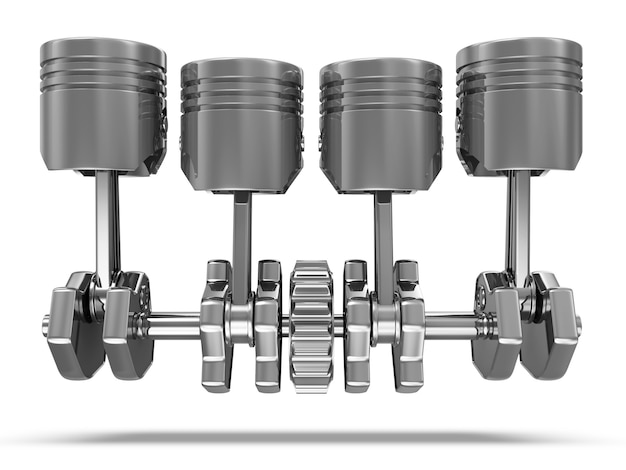 Close up on pistons and crankshaft isolated