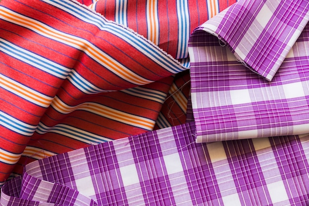 Close-up of plaid and stripes pattern fabric material