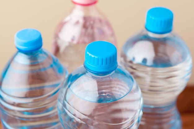 Close up of a plastic bottles