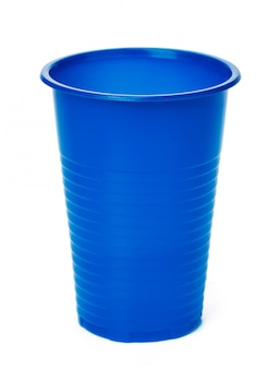 Close up of plastic cup on white background
