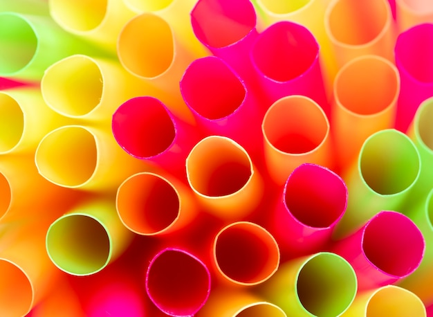 Close-up plastic drinking straws