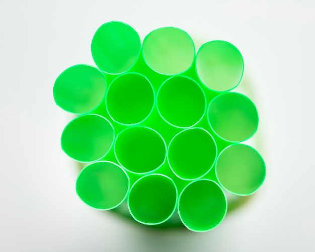 Close-up plastic tubes for drinking