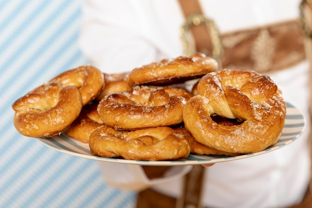 Close-up of plate of german pretzels