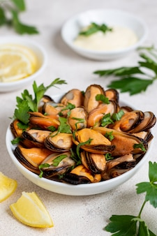 Close-up plate with tasty mussels