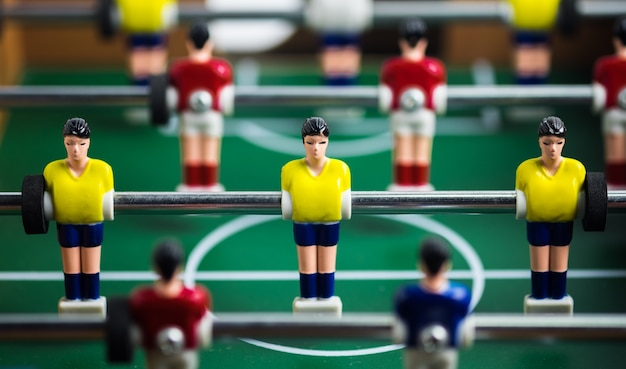 Close up of player on mini football game on table