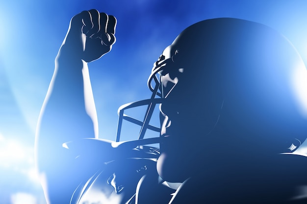 Close-up of player with his fist up