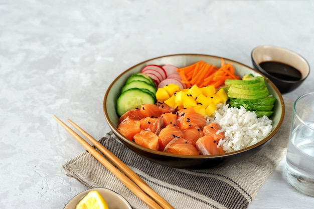 Close up of poke bowl with salmon, avocado and rice