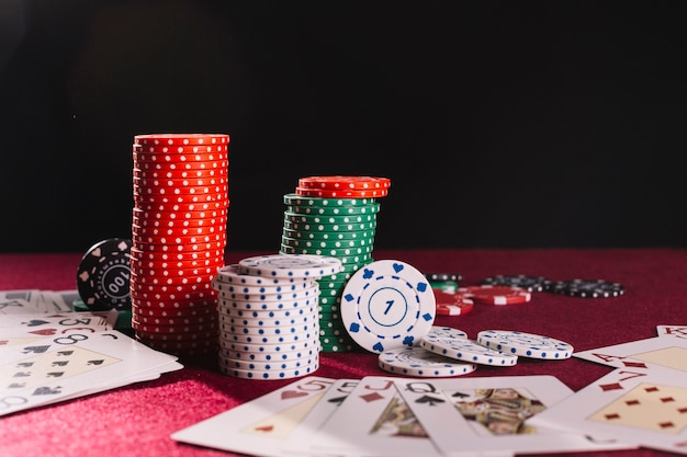 Close-up of poker chips and playing cards