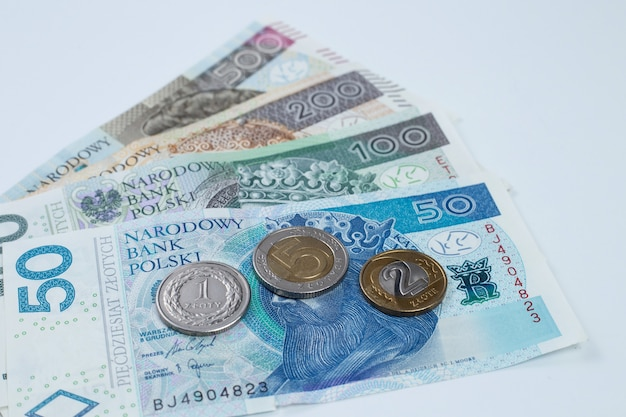 Close up of polish currency banknotes and coins