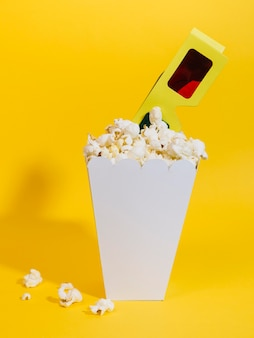 Close-up popcorn box with 3d glasses