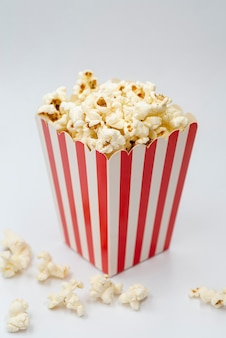 Close-up popcorn box with white background