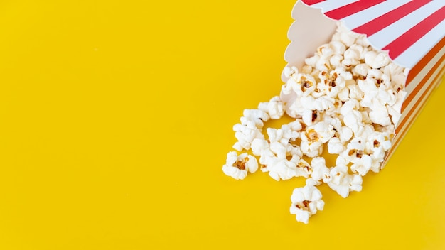 Close-up popcorn with copy space
