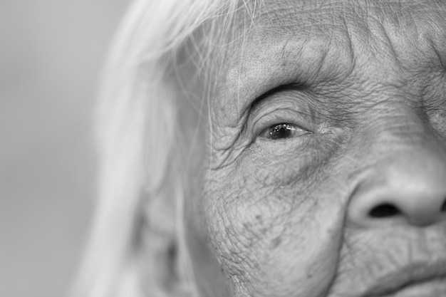 Close up portrait of 90 years old asian woman
