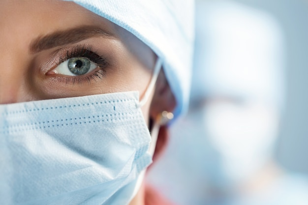 Close up portrait of adult female surgeon doctor wearing protective mask and cap