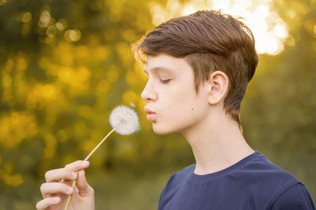 Close up portrait a boy blowing dandelion medical healthy concept