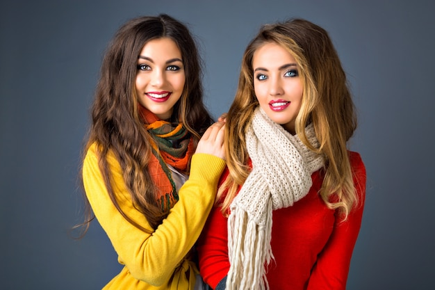 Close up portrait of cute pretty blonde and brunette girls, hugs, sister family style, autumn winter season, wearing sweaters and scarfs