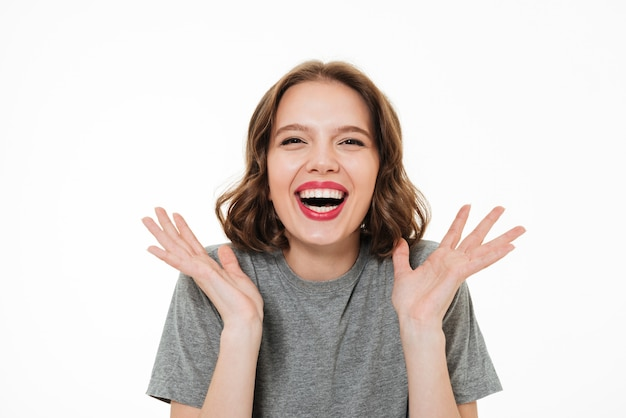 Close up portrait of an excited smiling woman
