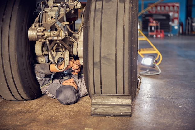 Close up portrait of ground crew working at the airport fixing airplanes and checking the landing gear