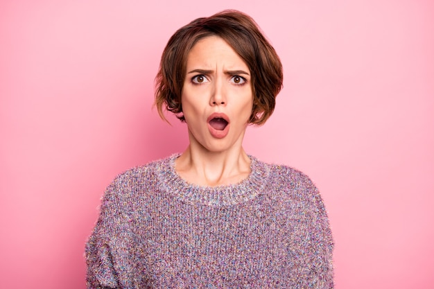Close-up portrait of her she nice attractive lovely pretty cute charming outraged brown-haired girl fake news reaction opened mouth isolated over pink pastel color wall