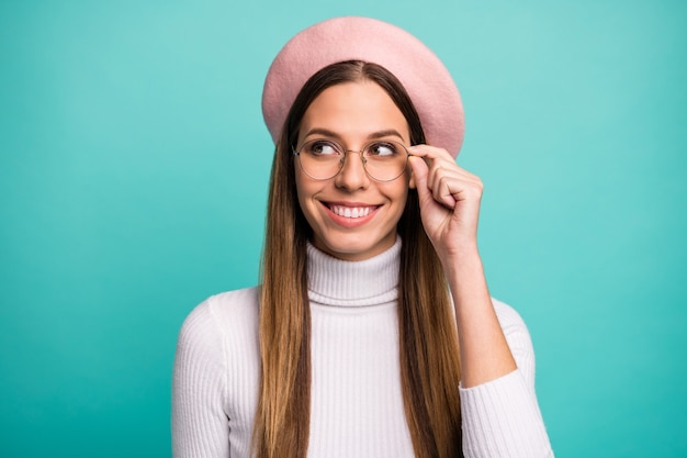 Close-up portrait of her she nice attractive lovely pretty intellectual cheerful straight-haired girl touching specs creating strategy isolated over bright vivid shine vibrant blue color background