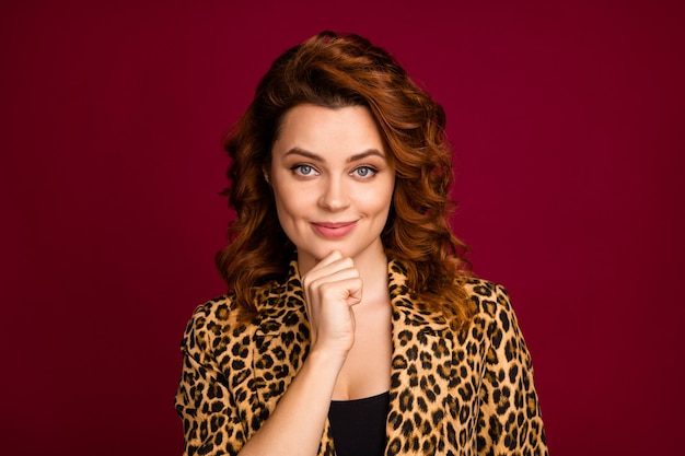 Close-up portrait of her she nice-looking attractive lovely pretty cute cunning sly cheerful content wavy-haired girl creating new idea isolated over red maroon burgundy marsala color background