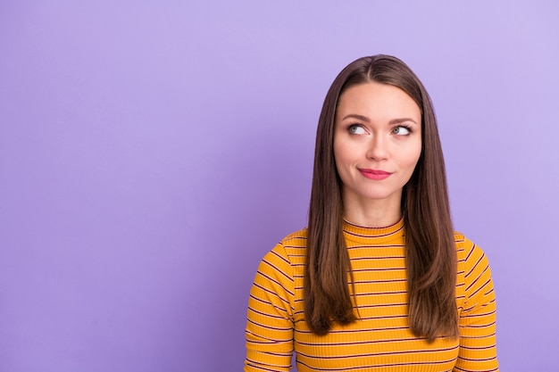 Close-up portrait of her she nice-looking attractive pretty cute lovely pensive creative girl thinking creating plan isolated over violet purple lilac pastel color