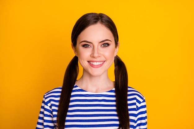 Close-up portrait of her she nice-looking attractive pretty lovely cute content cheerful cheery brown-haired girl isolated over bright vivid shine vibrant yellow color background