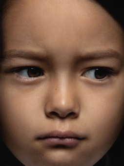 Close up portrait of little and emotional asian girl. highly detail photoshoot of female model with well-kept skin and bright facial expression. concept of human emotions. looks sad, upset.
