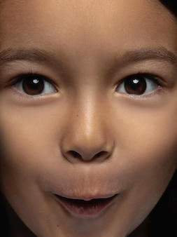 Close up portrait of little and emotional asian girl. highly detail photoshot of female model with well-kept skin and bright facial expression. concept of human emotions. looks shocked, astonished.