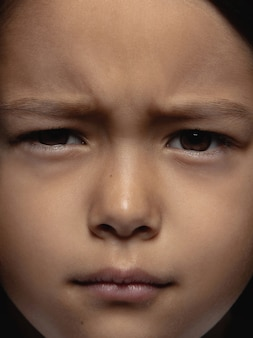 Close up portrait of little and emotional asian girl.