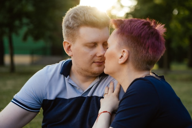 Close up portrait of loving couple