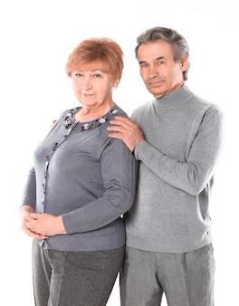 Close up.portrait of a loving elderly couple.isolated on white background