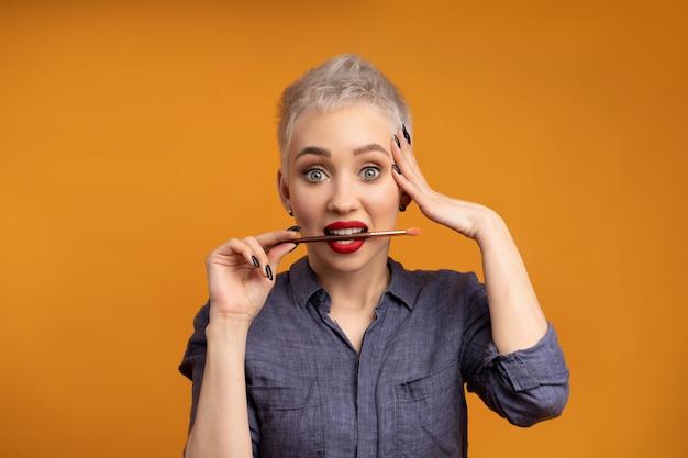 Close up portrait makeup artist. make up courses.