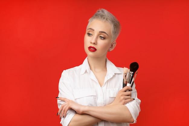 Close up portrait makeup artist.