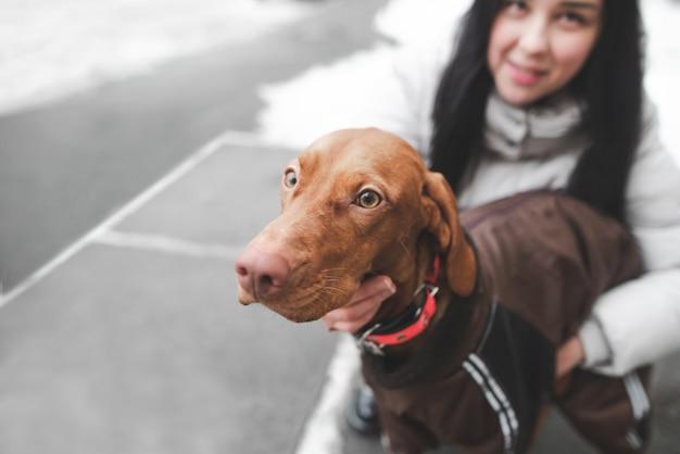 冬の日に女の子と歩いて服を着た犬のクローズアップの肖像画。