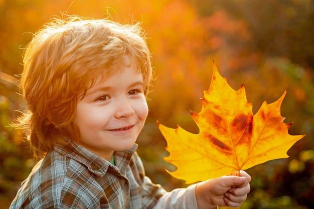 가 아이 소년의 초상화를 닫습니다. 가을은 재미있습니다 - 사랑스러운 소년은 가을 단풍에 재미를 느낍니다. 행복한 아이들.