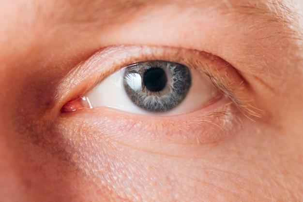 男の目の肖像画を閉じる