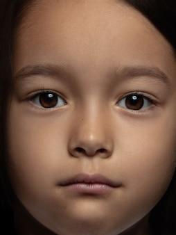 小さくて感情的なアジアの女の子の肖像画を閉じます。手入れの行き届いた肌と明るい表情の女性モデルの非常に詳細な写真撮影。人間の感情の概念。