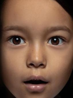 小さくて感情的なアジアの女の子の肖像画を閉じます。手入れの行き届いた肌と明るい表情の女性モデルの非常に詳細な写真撮影。人間の感情の概念。ショックを受け、驚いたように見えます。