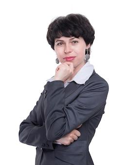 Крупным планом. портрет современной молодой деловой женщины. изолированные на белом фоне
