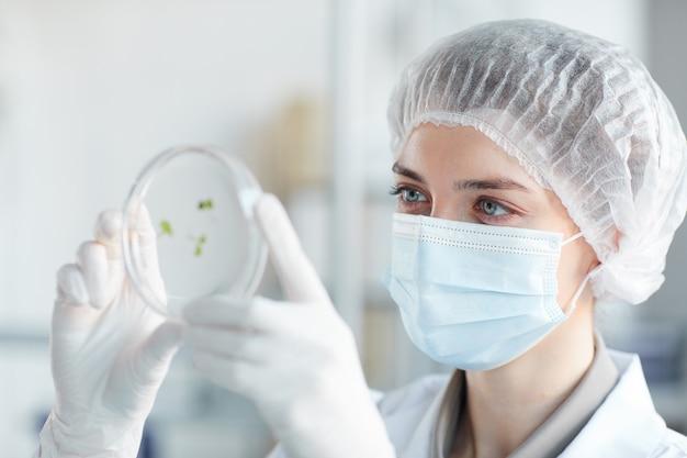 バイオテクノロジーラボ、コピースペースで植物サンプルを研究しながらペトリ皿を保持している若い女性科学者の肖像画をクローズアップ