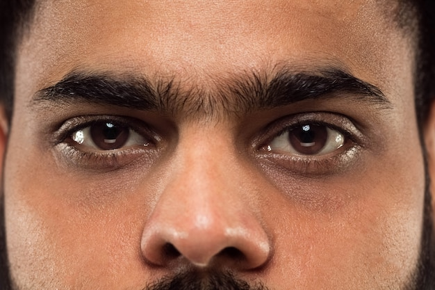 カメラを右に見ている茶色の目で若いヒンドゥー教の男の顔の肖像画をクローズアップ