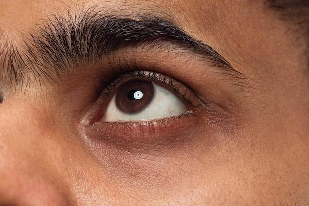茶色の目が上向きまたは横向きで若いヒンドゥー教の男の顔の肖像画をクローズアップ
