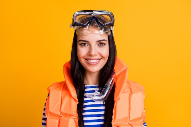 Close up portrait of positive girl life guard safe tourists tourism underwater wear goggles tube mask vest striped blue white shirt isolated over bright shine color background