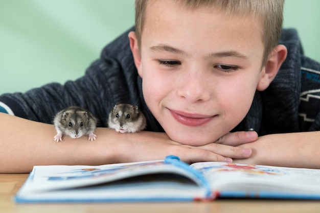 Close up portrait of smiling little boy reading book with small pet hamsters.