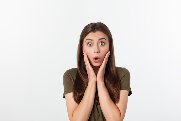 Close-up portrait of surprised beautiful woman holding her head in amazement and open-mouthed. over white wall