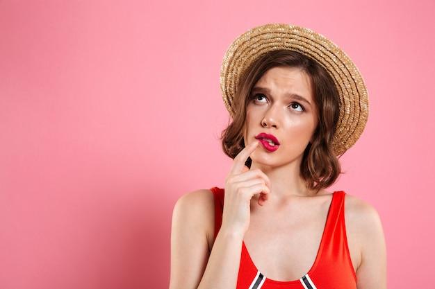 Close up portrait of a unsure doubtful girl