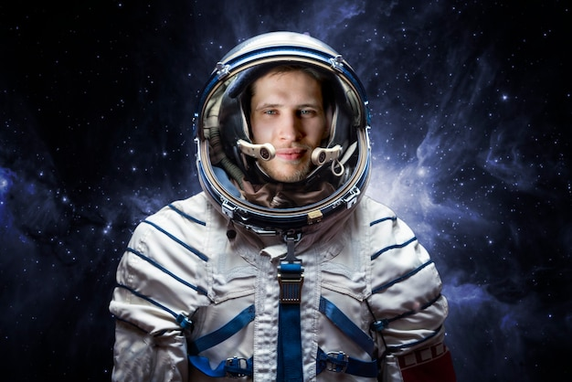 Close up portrait of young astronaut completed space mission