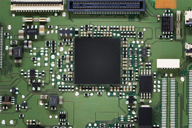 Close-up on processor on electronic circuit board
