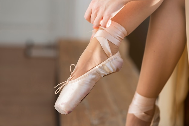 Close-up professional ballerina shoes